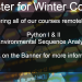 Register for Winter Courses! We are offering all of our courses remotely this Winter: Python I & II, and Environmental Sequence Analysis . Click on the banner for more info